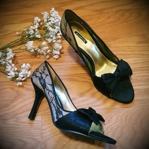 NEW Rampage Glam Lace Open Toe High Heels